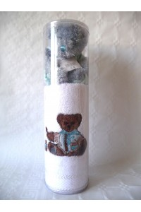 Coffret serviette brodé ours + peluche Garçon