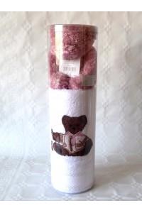 Coffret serviette brodé ours + peluche Fille